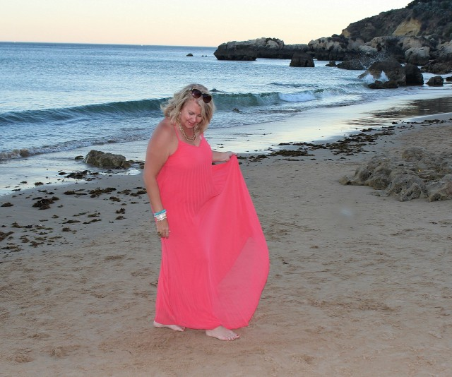 Coral Dress Heather Lindstrom Beach in Algarve