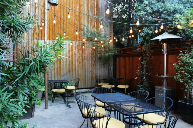 The patio at Monks Wine Bar in Chico