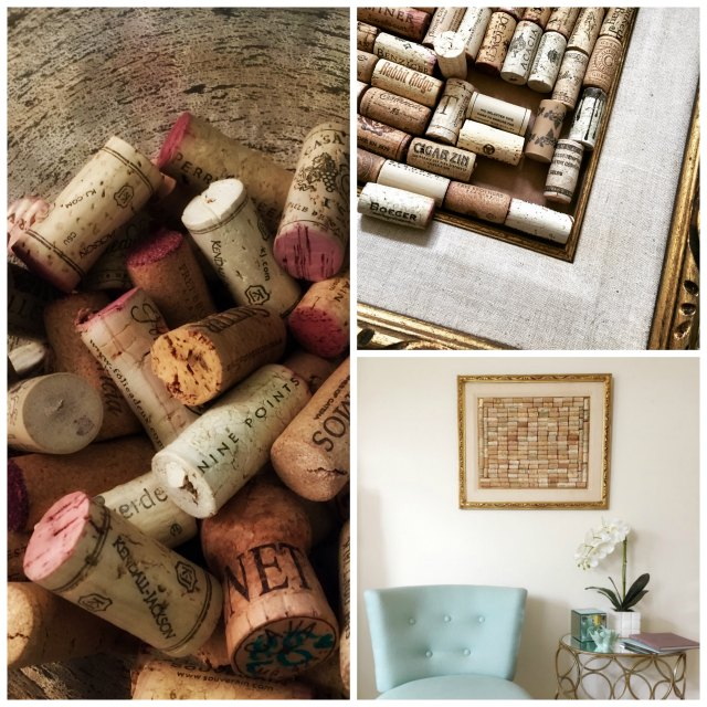 My Collage of wine corks and creating a style board  in a vintage gold frame on Stylemindchic Lifestyle