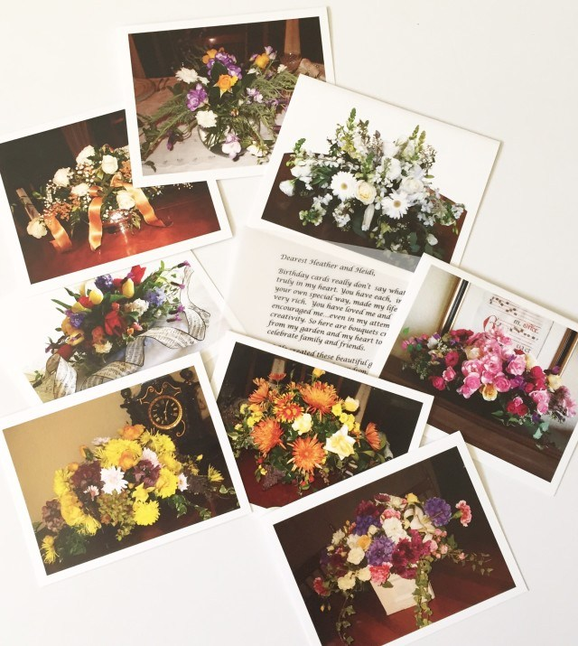 Mother's Day Bouquets and notecards of flower arrangements