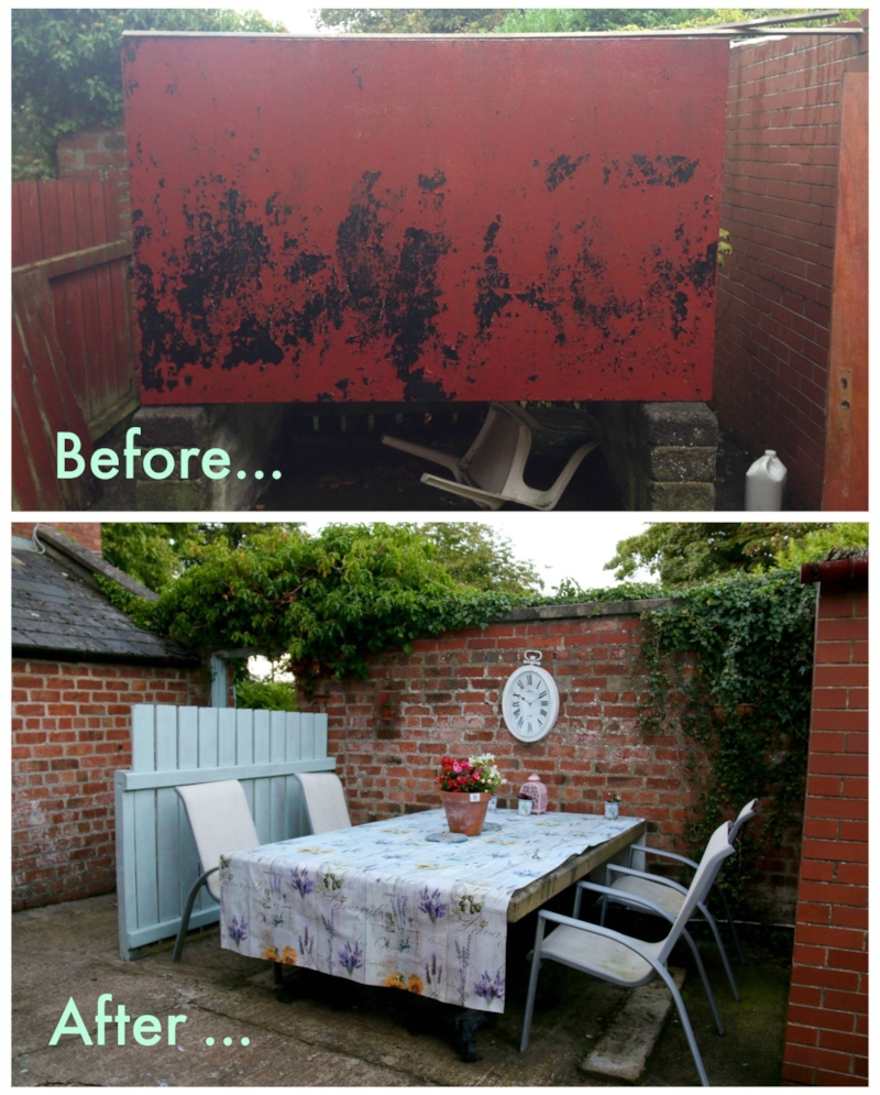 Goodbye old dirty Oil tank Hello new Al fresco eating area!