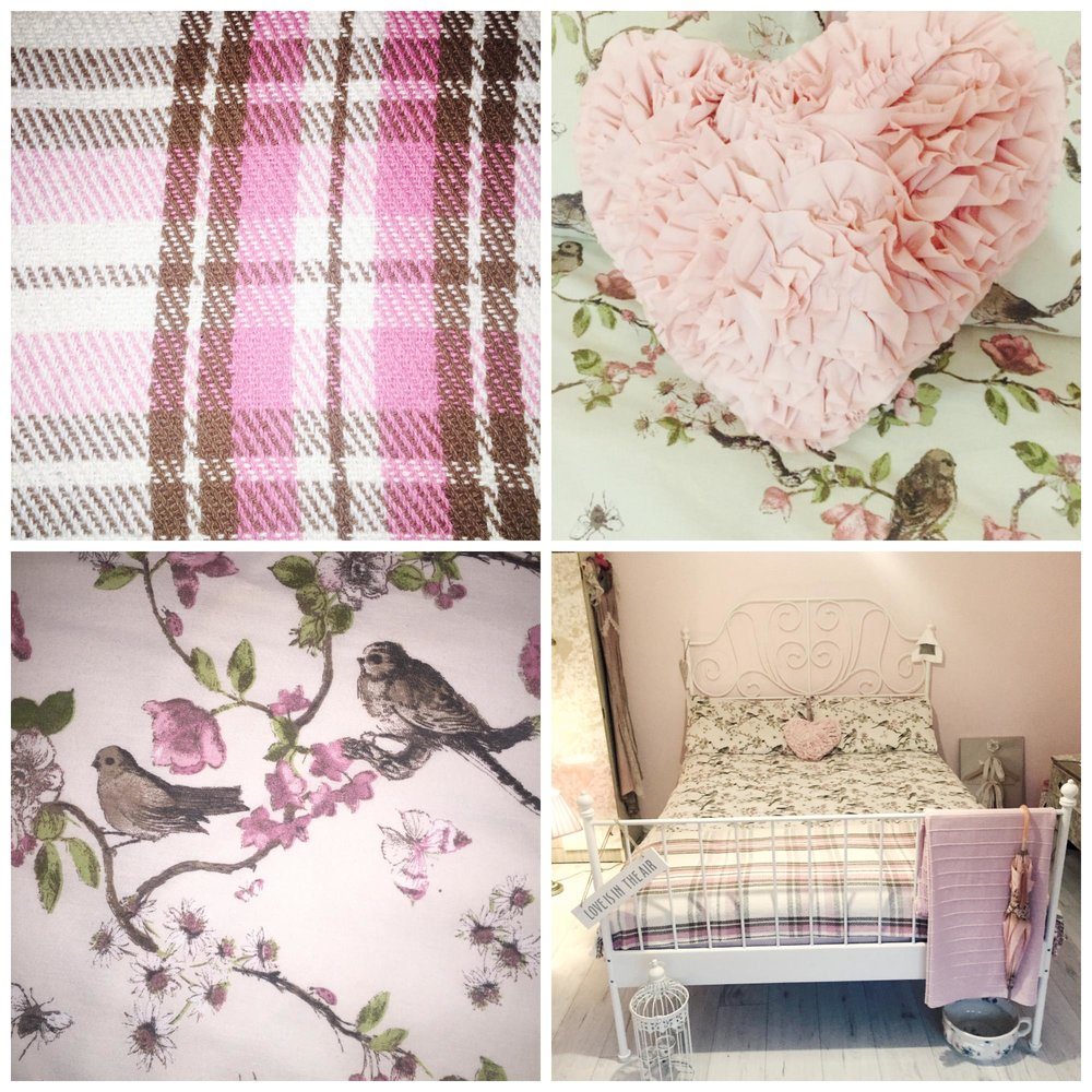 Pink cushion is from Matalan along with the pink tartan throw. I love my Bird bedlinen @Asda's best.White bed is from  Ikea £79  for the frame only. Easy to assemble and can fit in an average size car.