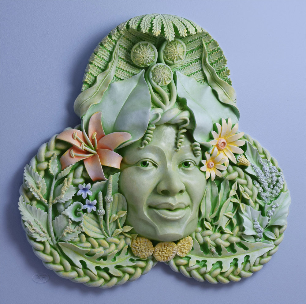 Special edition Gaia, in cast stone with hand painted finish.