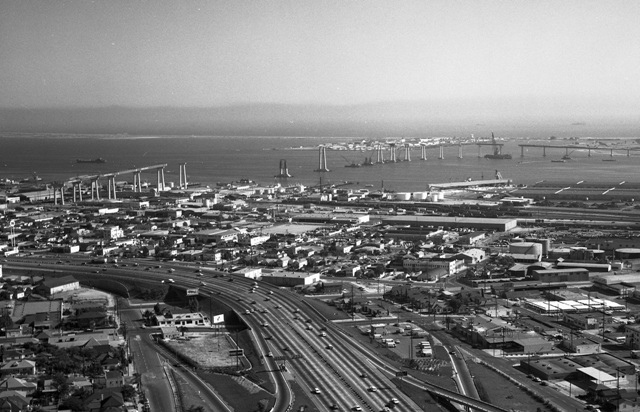 Coronado Bridge under construction in the late 1960s