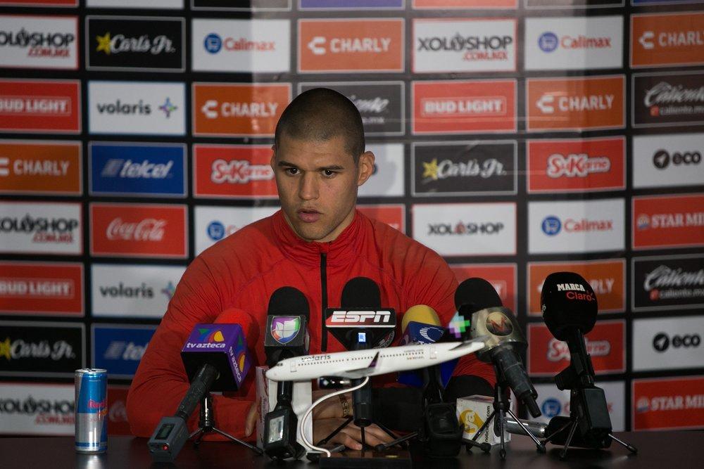 Gibran Lajud at a press conference last season. Photo via Club Tijuana