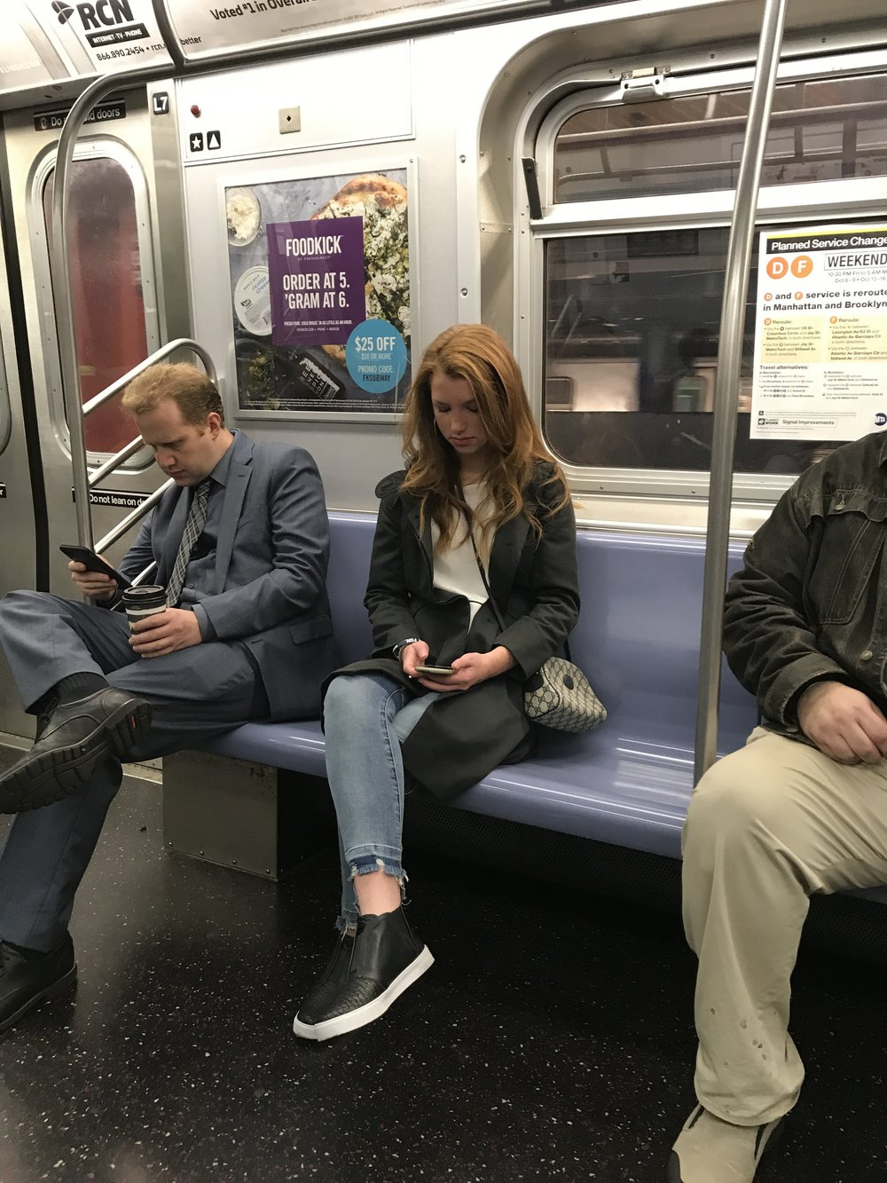 Starting the next day on the subway on the way to Parsons ... obviously not a morning person!!!