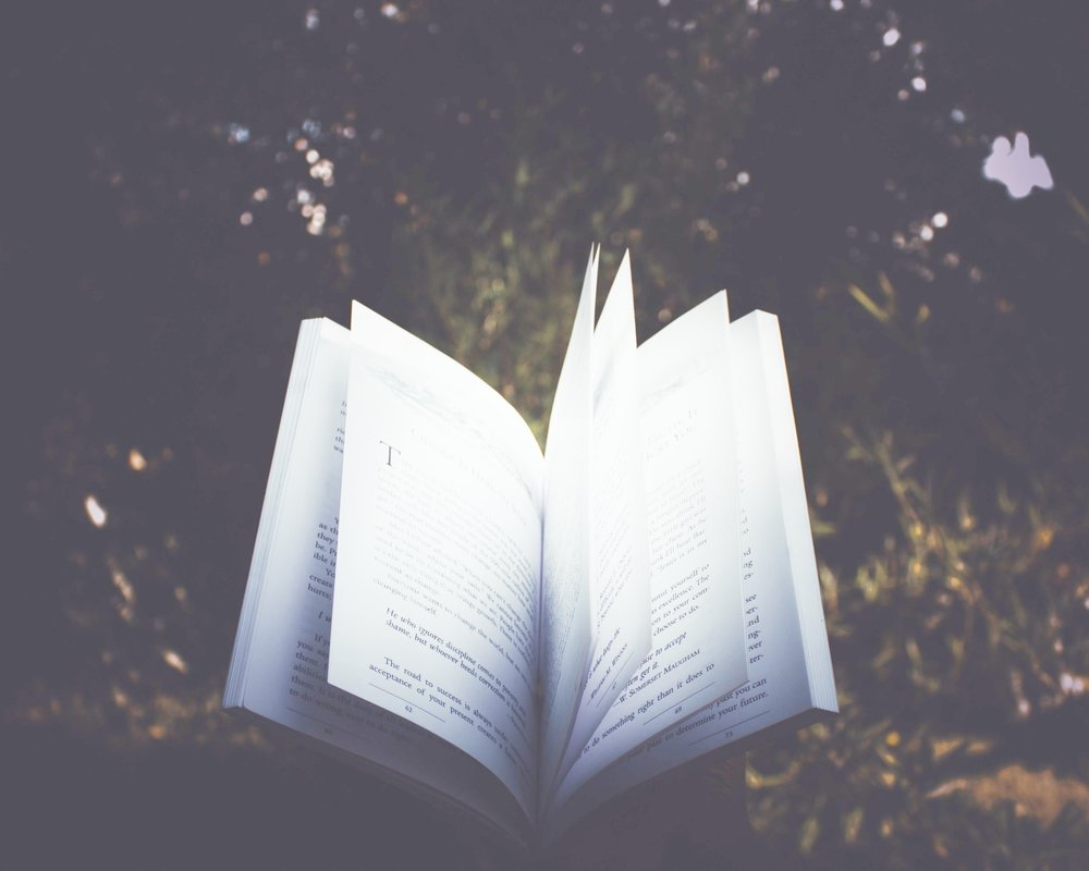 Floating open book
