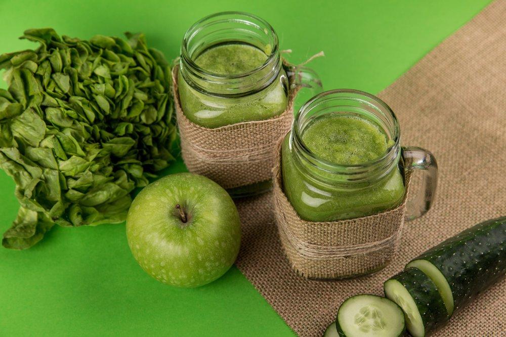 Green fruit and veggies