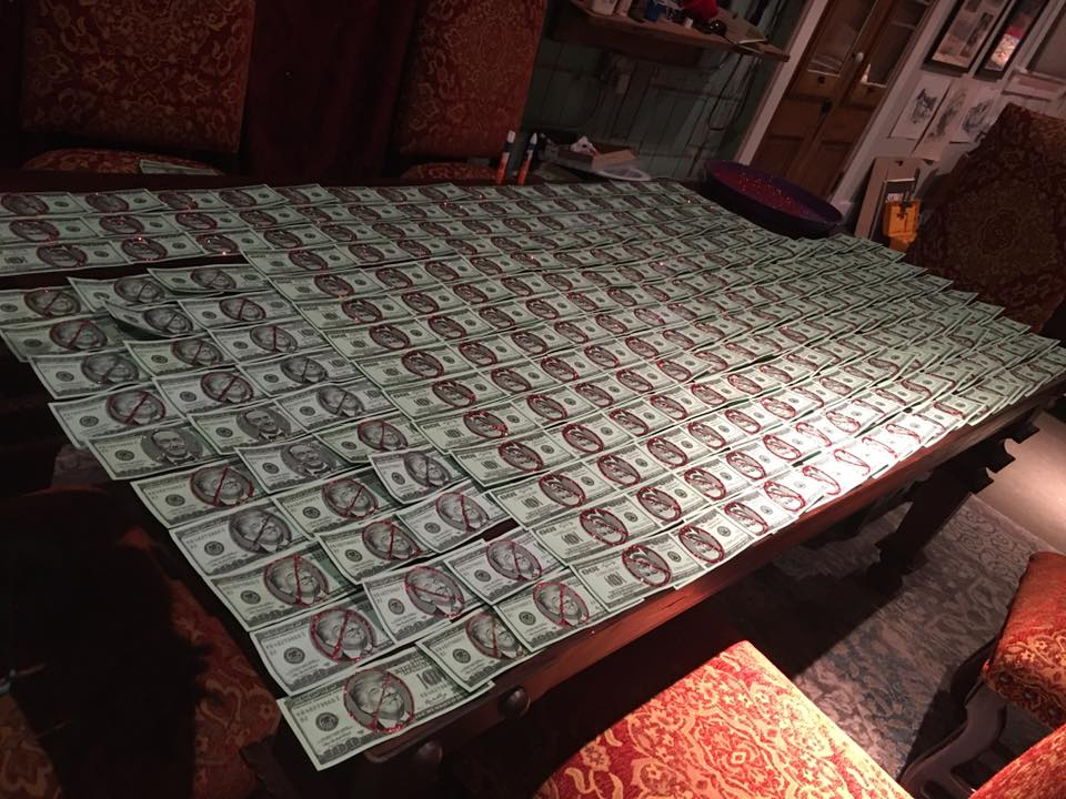 Just a few of the 4,000 $100 bills we made