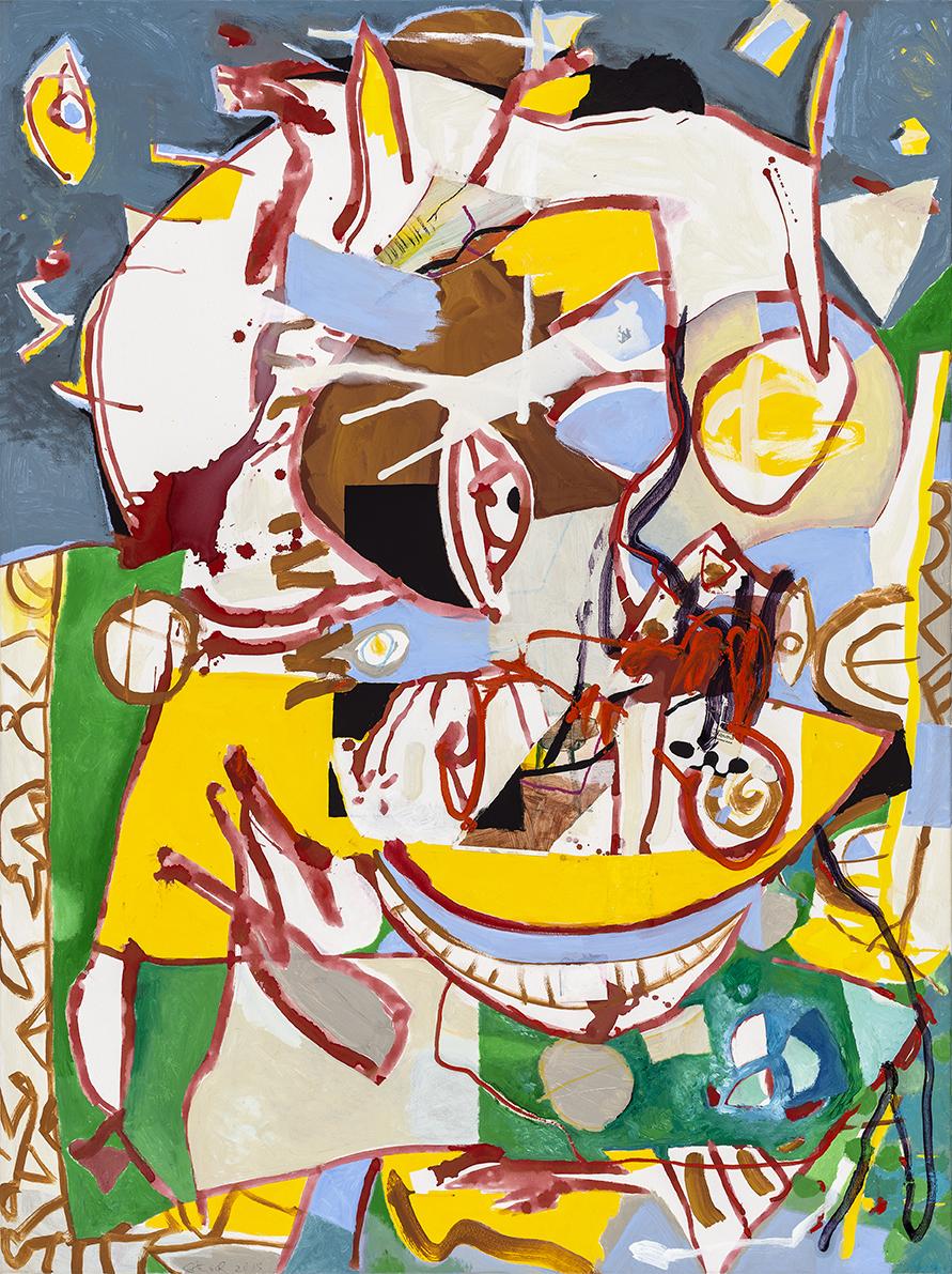 Cerebrale Dissoziation, 2016, 120 x 160 cm, Öl und Acryl auf Leinwand
