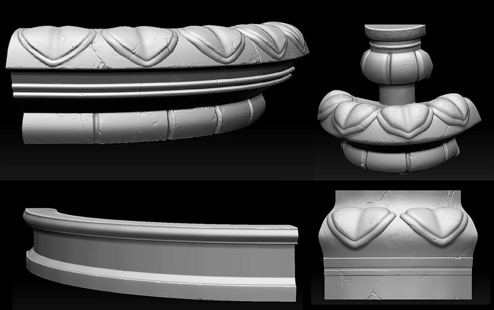 Fountain: My first in-game model. Created modular 1/4 pieces to save texture space.