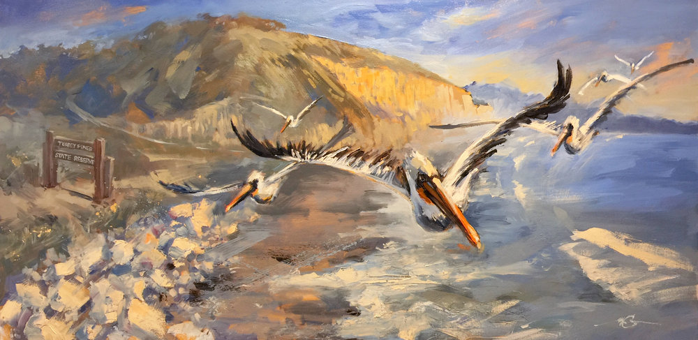"Pelicans for Debbie  24"" x 48"" Oil on Canvas Sold"