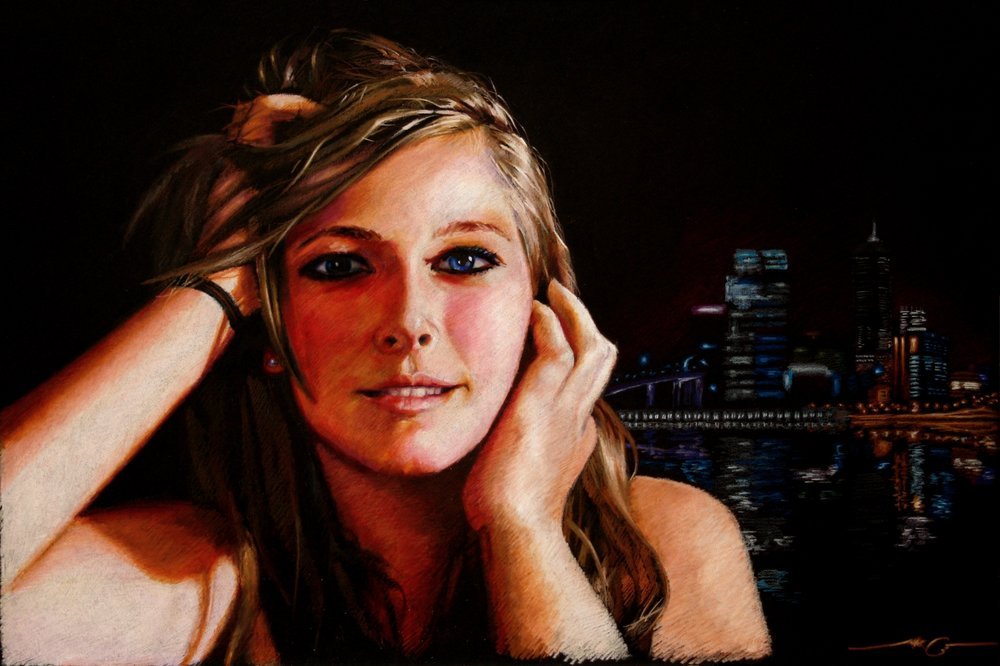 "Midnight Blush  20"" x 30"" Color pencils on black illustration board NFS"