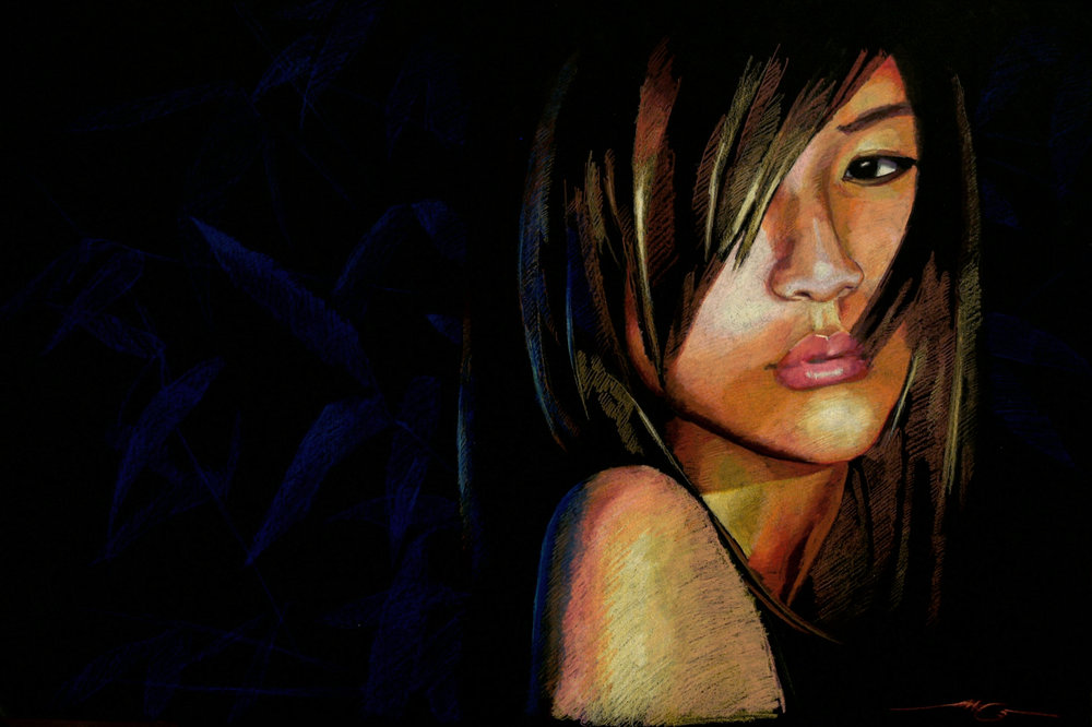 "Natesha  20"" x 30"" Color pencils on black illustration board"