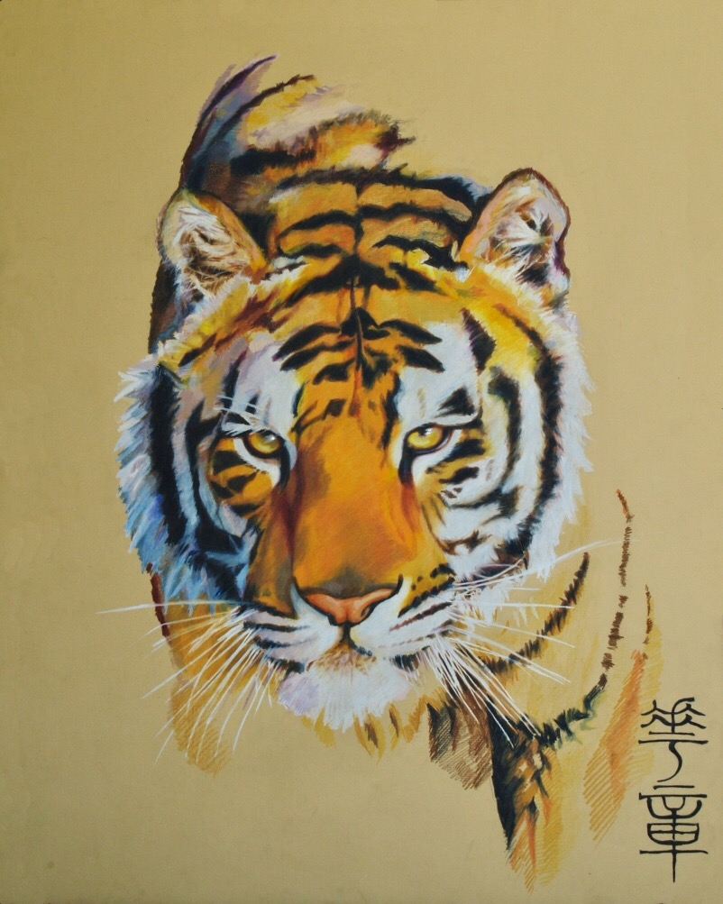 "Huazhang Tiger 32"" x 40"" Color pencils on illustration board NFS"