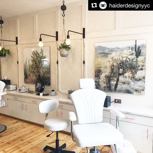 Beautiful acrylic artwork in this salon designed by @haiderdesignyyc ・・・ Still obsessed with these prints from @qcographics