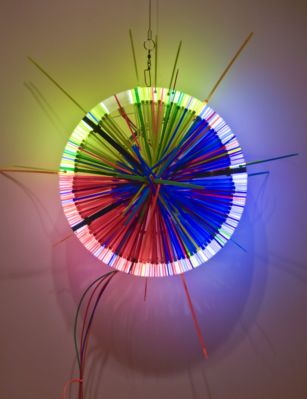 RGB   Fluorescent Lamp, color snap ties, loom heddles and fishing spinners and color wire 16 in lamp diameter 24 in overall