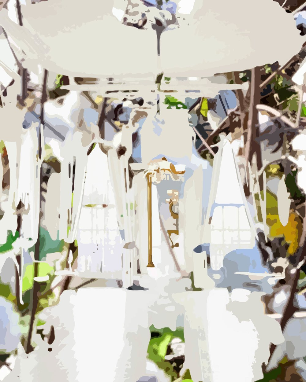 Interior/exterior Nottoway Plantation (Cotton Kingdom)    Oil on canvas 40 x 30 in