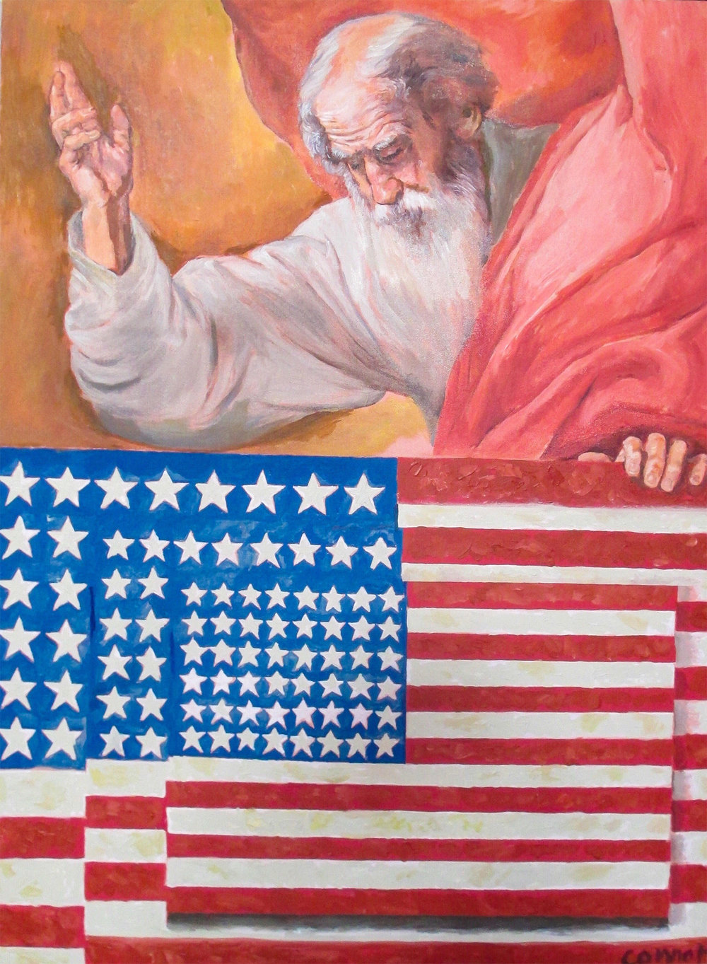 God Bless America  (after Johns, Ribera)    Oil on canvas 40 x 30 in
