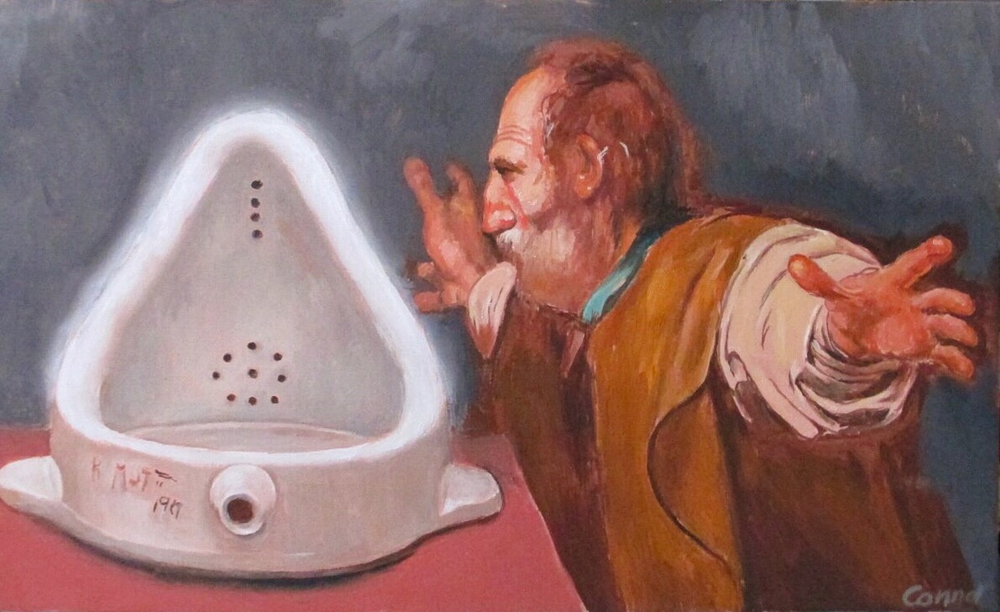 The Art Lover  (after Duchamp, Caravaggio)   Oil on canvas  18 x 30 inches