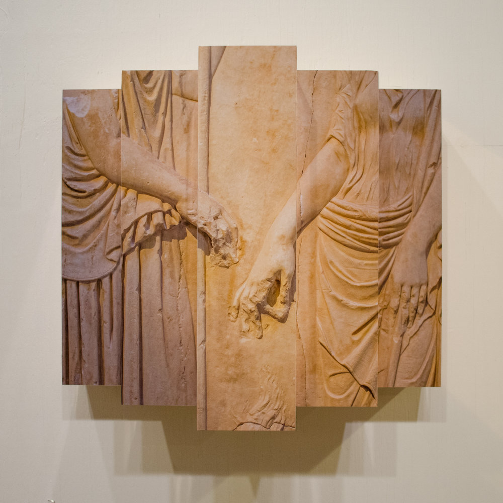 Eleusinian Reflective Relief     Color photograph and copper on wood  16 x 20 x 12 in
