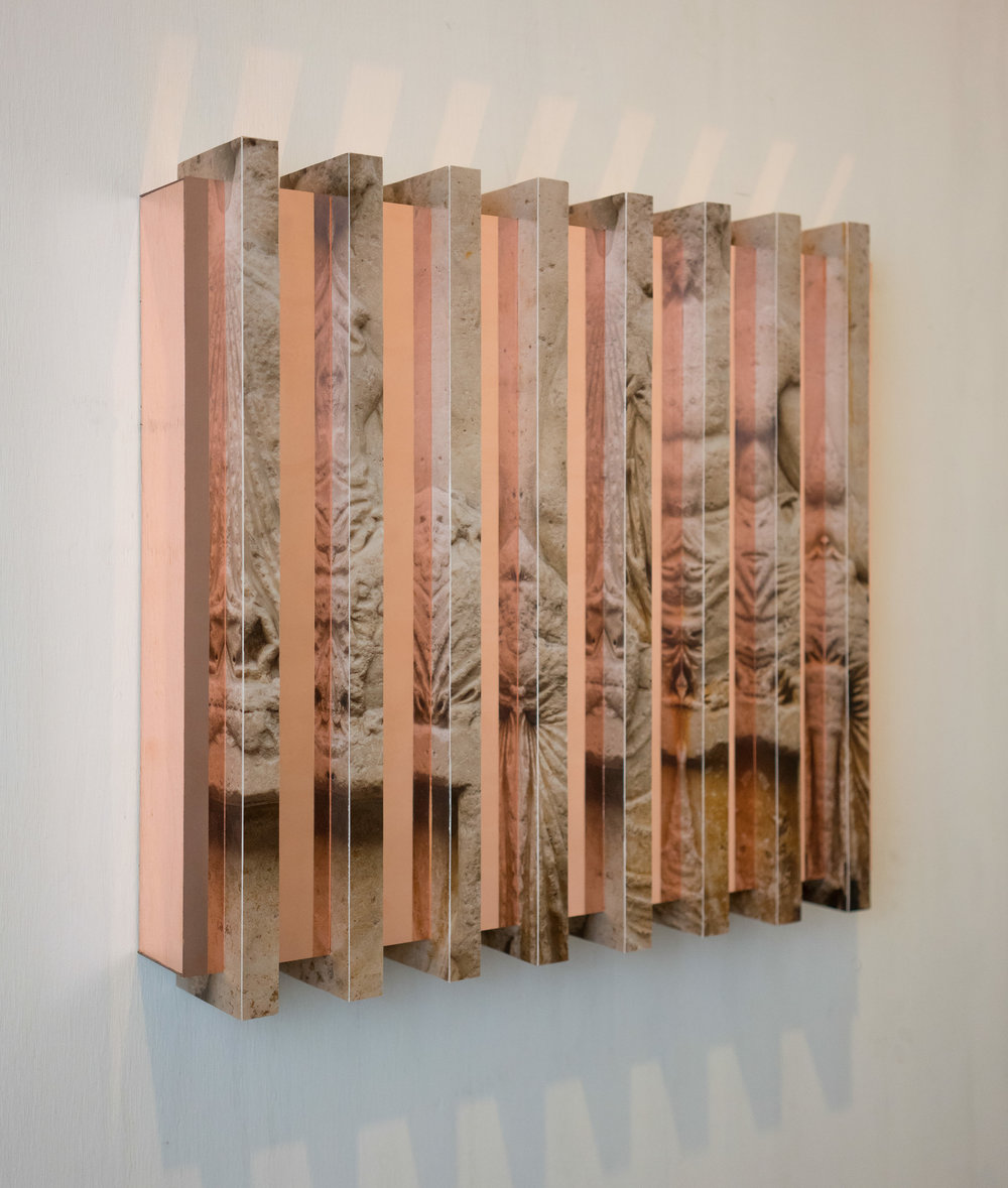 Reflective Relief (Parthenon East Frieze V)   Color photograph and copper on wood 18 x 18 x 3 in