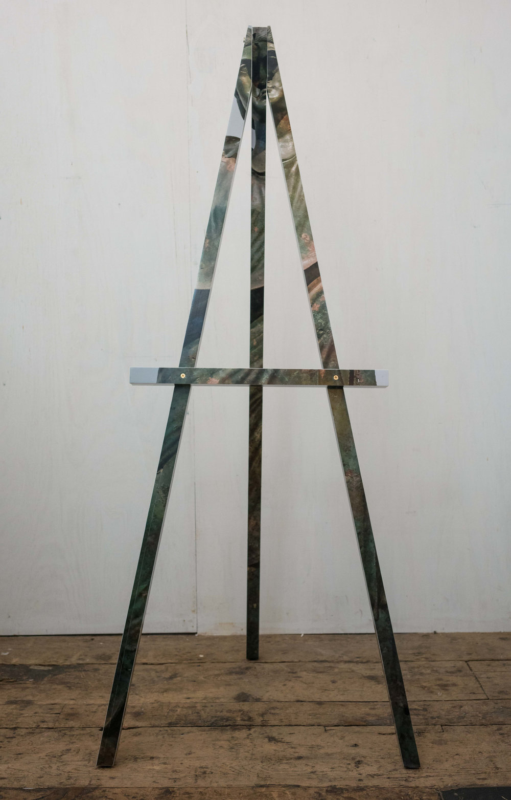 Easel (Damnatio Memoriae)     Color photograph mounted on wood with brass hardware 68 x 29 x 29 in