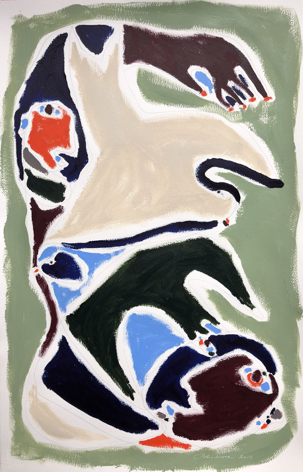 WILD THINGS CANNOT BE TAMED   Acrylic on paper 40 x 26 in