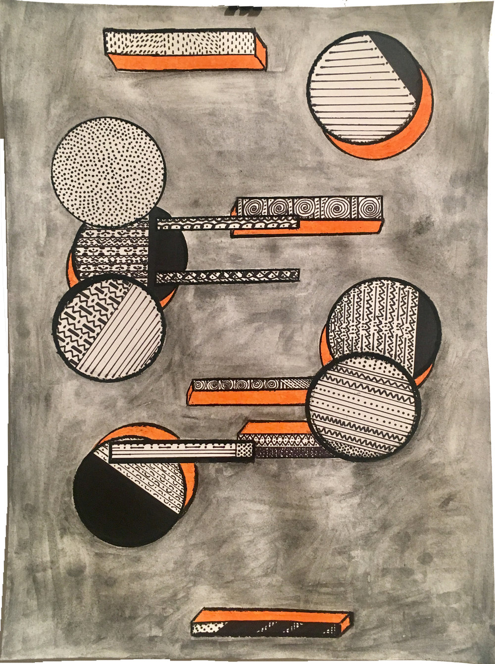 Glendalys Medina  Orange Laces  Graphite, marker and oil pastel on paper 14 x 17in