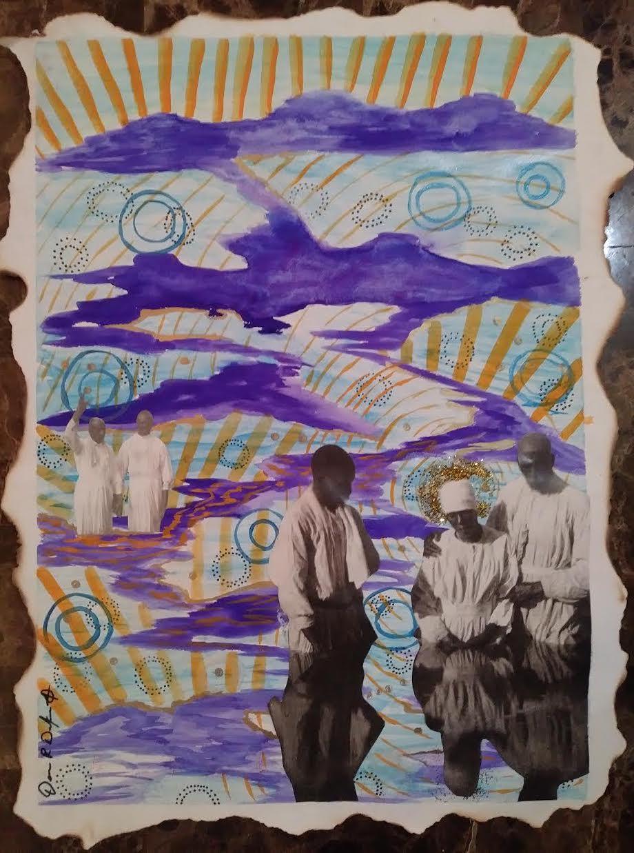 Dennis Redmoon Darkeem  In Spirit  Gouache, marker, acrylic paint, glitter, collage on watercolor paper 21 x 16 in