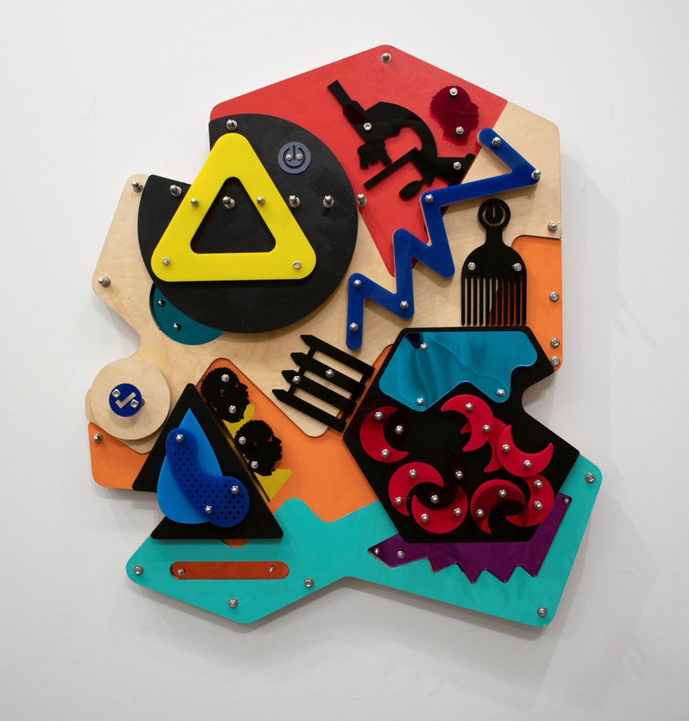 Blockage (Blackamoors Collage #143)   CNC routed MDF and Baltic birch, plexiglass, mirror and stainless steel hardware  36 x 32 in