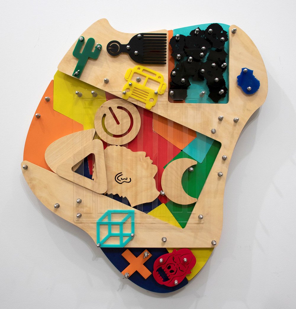 Bing (Blackamoors Collage #145)   CNC routed MDF and Baltic birch, plexiglass and stainless steel hardware  36 x 32 in