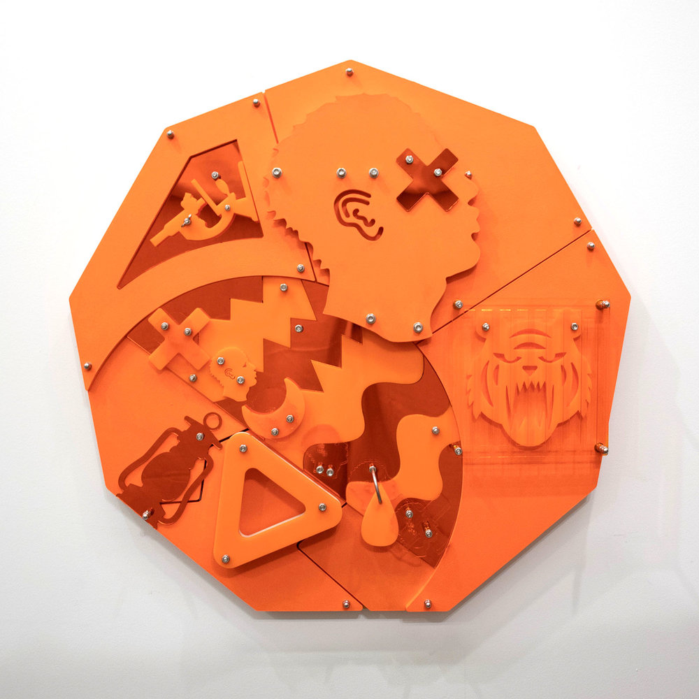 Hidden Pictures AKA Tiger Mandingo (Blackamoors Collage #140)    CNC routed MDF and Baltic birch, plexiglass, mirror and stainless steel hardware  35 1/2 x 36 in