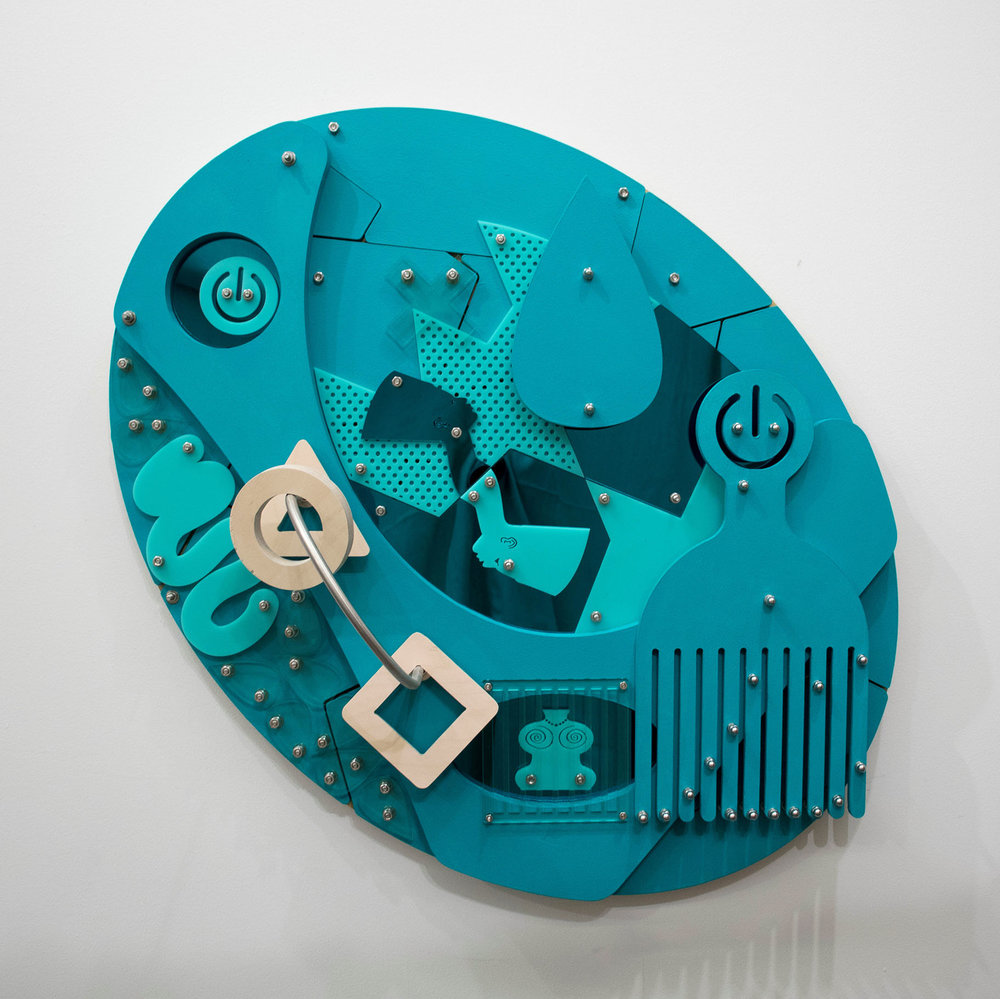 Brain Play (Blackamoors Collage #137)     CNC routed MDF and Baltic birch, plexiglass, mirror and stainless steel hardware 36 x 36 in