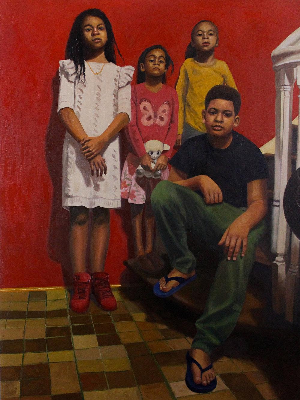 Los Primos de Philly   Oil on canvas 40 x 30 in $6,800