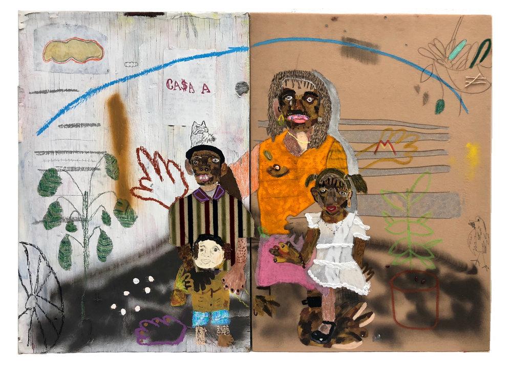 Llegando a la frontera   Mixed media on canvas 36 x 52 in
