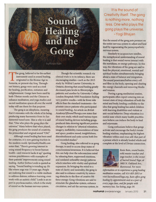 Natural Awakenings Sound Healing and the Gong article by Rosie Rain