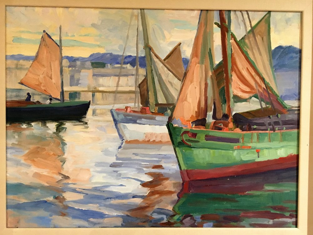 Tunney Boats, Concameau - artist unknown in style of Sydney Lough Thompson - oil on board 44x59.JPG