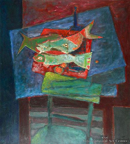 Fish on a Platter - Henry Szydlowski oil on canvas 91x82 1980.jpg