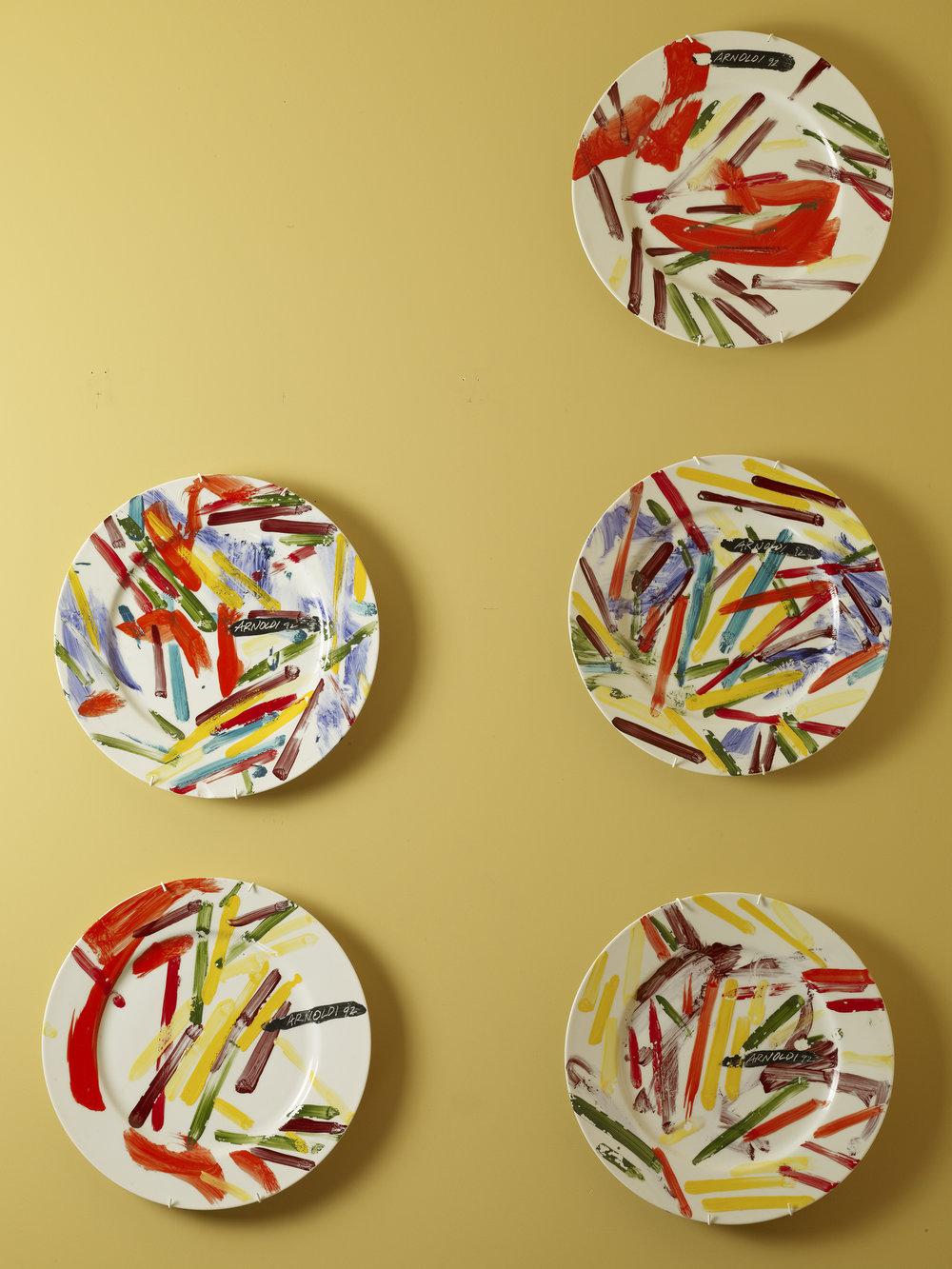 Unititled Charles Arnoldi 1992 - oil on five Taitu Emillio Bargamin dinner plates each 31x31.jpg
