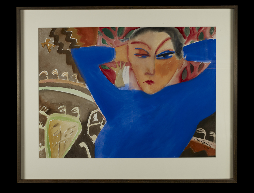 Blue on a Kilim JaneEvans gouache on paper 56 x 75 1985.jpg