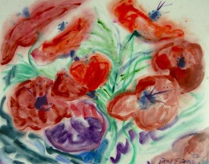 Jane Evans Poppies Feb '82 No 13 - (FlowerGrowingseries) watercolour on blotting paper 44 x 57.jpg