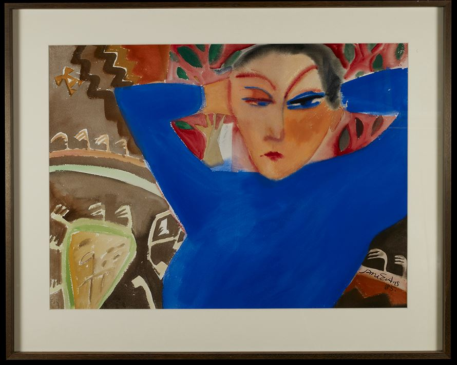 Blue on a Kilim  by Jane Evans (gouache) 1985