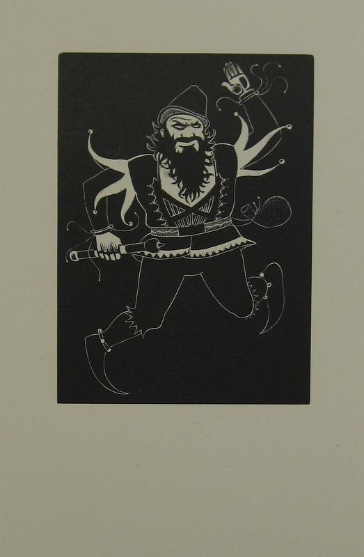 Leo Bensemann - Dancing Dwarf wood engraving 11.5 x 8.5.JPG