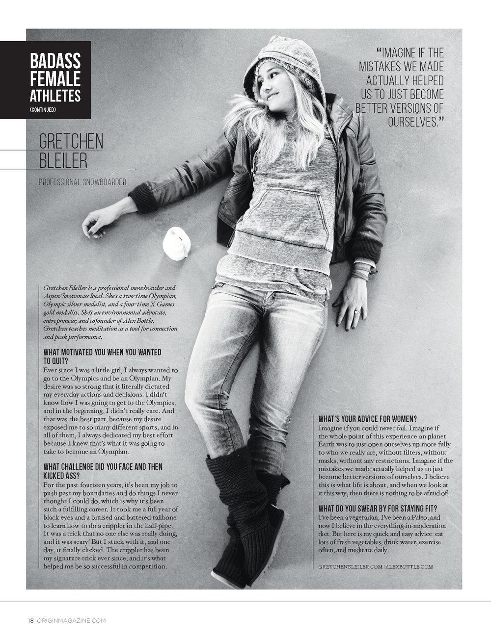 "Origin Magazine ""Badass Female Athletes"""