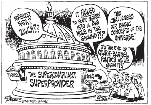 Fig. 5. As this cartoon illustrates, public support for big physics was faltering in the early 1990s, making the small science vision articulated by Anderson and his colleagues more attractive to legislators. Source: Copyright 1993 by John Trever,  Albuquerque Journal . Reprinted by permission.