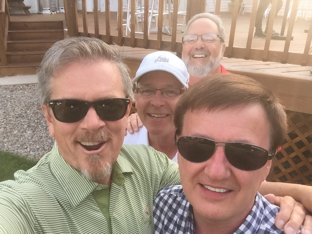 Mark O'Connell and Dave Crosier in front with friends Johnny and Steve.