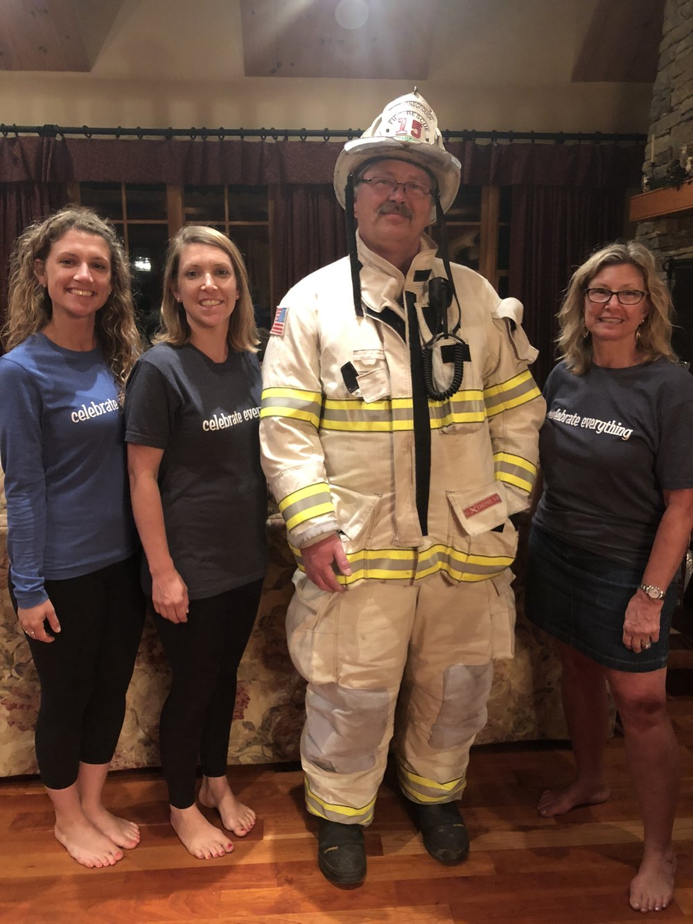 Shannon, Kara and Debbie with Fire Chief Bengston