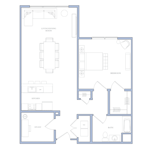 UNIT O - 2 bedROOMS · study1158 sqFRental Price:$1,460 - $1,510