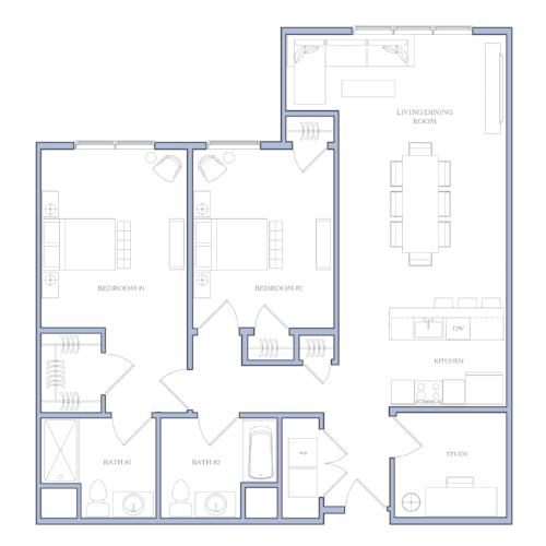 UNIT I - 2 bedROOMS · study1183 sqFRental Price:$1,500 - $1,510
